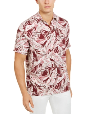 Tasso Elba Men's Amera Leaf-Print Shirt, Created for Macy's