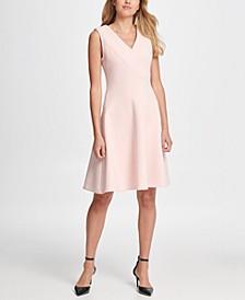 V-Neck Compression Fit & Flare Dress