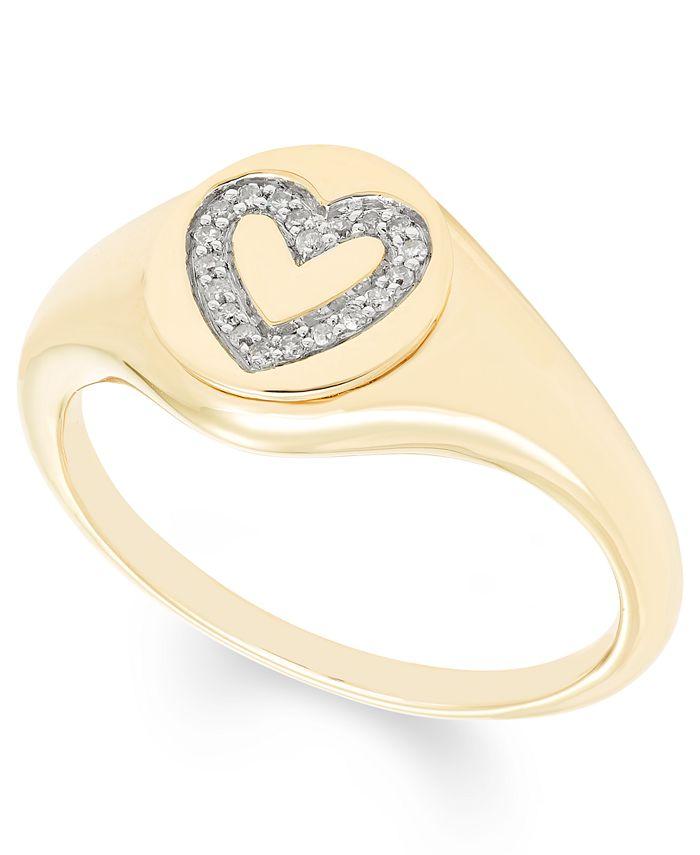 Macy's - Diamond (1/16 ct. t.w.) Heart Signet Pendant in 14k Yellow or Rose Gold