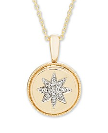 Diamond Accent Starburst Pendant in 14K Yellow or Rose Gold