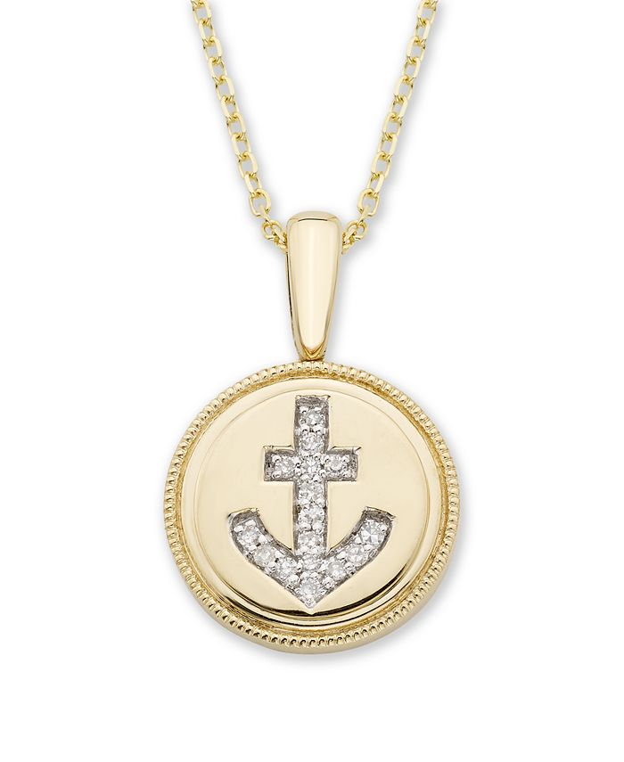 Macy's - Diamond (1/20 ct. t.w.) Anchor Pendant in 14k Yellow or Rose Gold