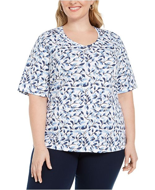 Karen Scott Plus Size Branches-Print Top, Created For Macy's