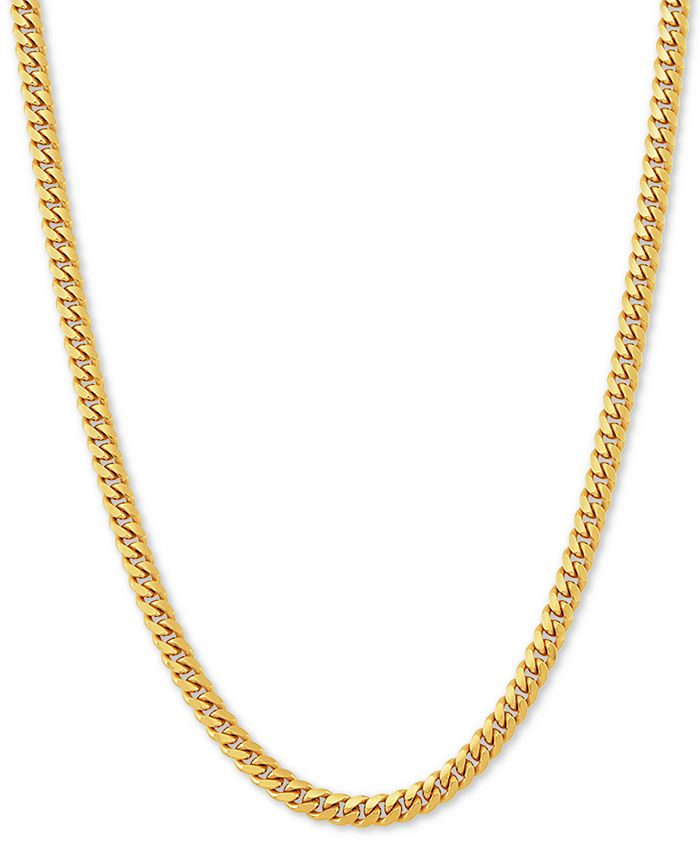 """Macy's - Cuban Link 24"""" Chain Necklace in 18k Gold-Plated Sterling Silver"""