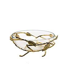 Hammered Glasses Salad Bowl with Gold-Tone Brass Leaf Decoration