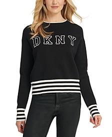Striped-Trim Logo Sweater