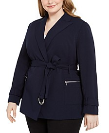 Plus Size Tie-Belt Blazer