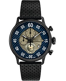 Men's Swiss Chronograph Re-Balance T-1 Black Leather Strap Watch 44mm