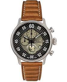 Men's Swiss Chronograph Re-Balance T-1 Brown Leather Strap Watch 44mm