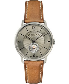 Men's Swiss Re-Balance T-1 Brown Leather Strap Watch 40mm