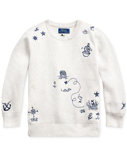 Polo Ralph Lauren Little Boys Embroidered Cotton Sweater