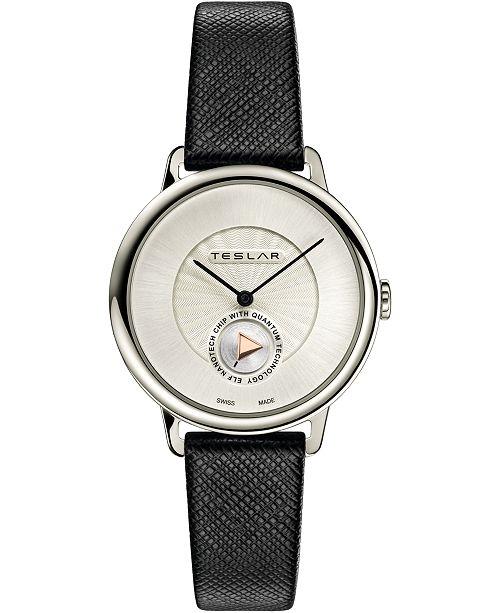 Teslar Women's Swiss Re-Balance T-1 Black Leather Strap Watch 36mm