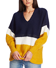 1.STATE Striped V-Neck Sweater