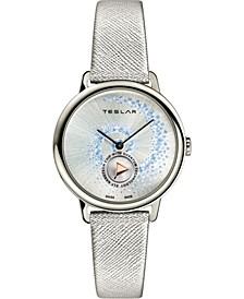 Women's Swiss Fibonacci Silver-Tone Leather Strap Watch 36mm