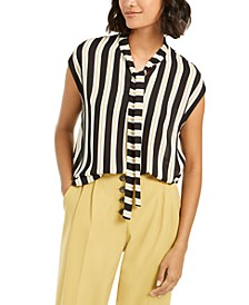 Striped Tie-Neck Blouse, Created For Macy's