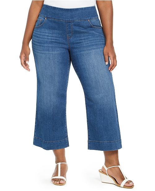 Style & Co Plus Size Pull-On Wide-Leg Jeans, Created for Macy's