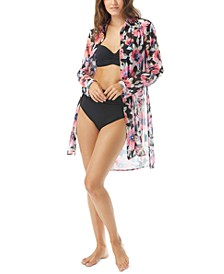 Floral-Print Shirt Swim Cover-Up