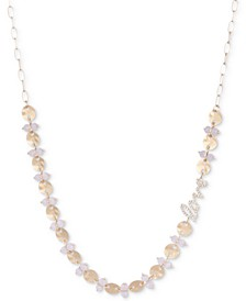 "Gold-Tone Crystal Love Beaded Long Necklace, 32"" + 3"" extender"