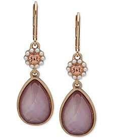 Gold-Tone Colorful Stone Double Drop Earrings