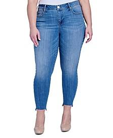 Trendy Plus Size Splendor Embellished Step-Hem Skinny Jeans