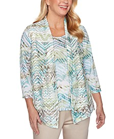 Petite Cottage Charm Printed Layered-Look Top