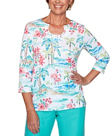Petite Miami Beach Tropical-Print Top