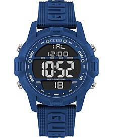 Men's Digital Blue Silicone Strap Watch 48mm