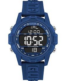 Men's Digital Blue Silicone Strap Watch 48mm