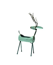Small Galvanized Metal Reindeer Container