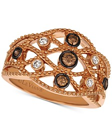 Chocolatier® Diamond Lattice Openwork Statement Ring (1/3 ct. t.w.) in 14k Rose Gold