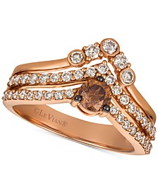 Chocolate Diamonds® & Nude Diamonds™ Statement Ring (1 ct. t.w.) in 14k Rose Gold