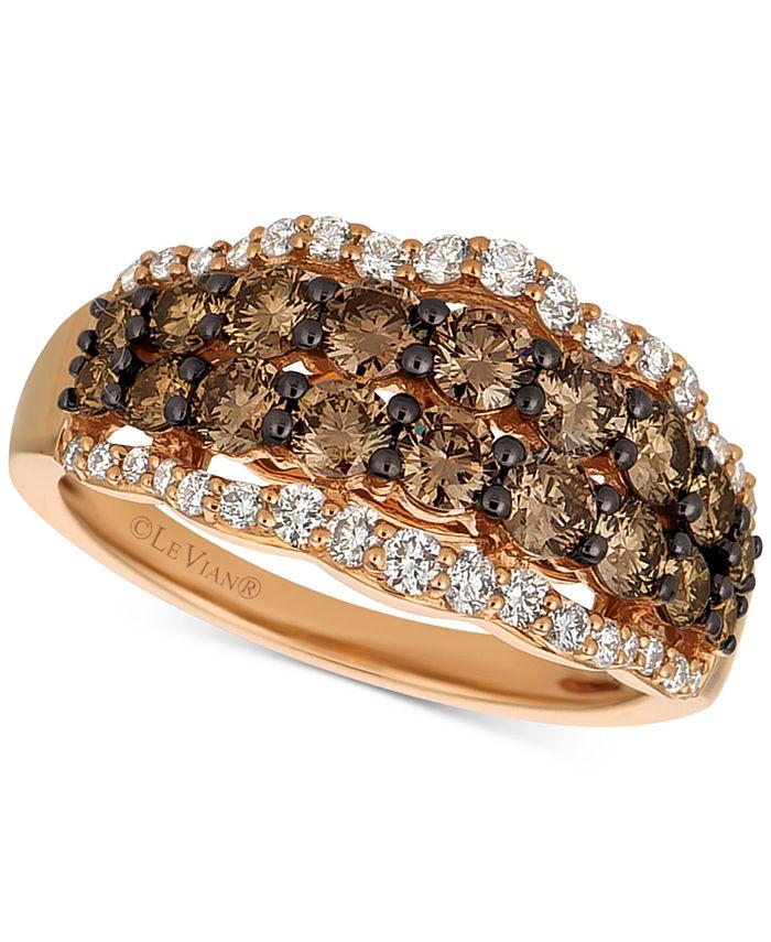 Le Vian - Chocolate Diamond® & Vanilla Diamonds® Statement Ring (1-1/2 ct. t.w.) in 14k Rose Gold