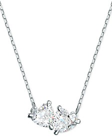 """Silver-Tone Double Crystal Pendant Necklace, 14-7/8"""" + 2"""" extender"""