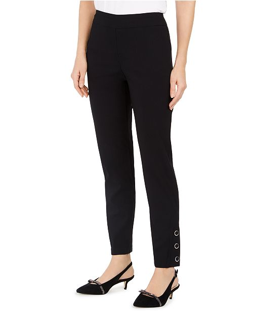 JM Collection Tummy-Control Pull-On Button-Hem Pants, Created For Macy's