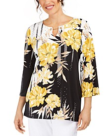 Printed Toggle-Neck Tunic Top, Created For Macy's