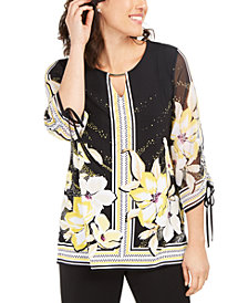 JM Collection Printed Chiffon-Sleeve Top, Created for Macy's