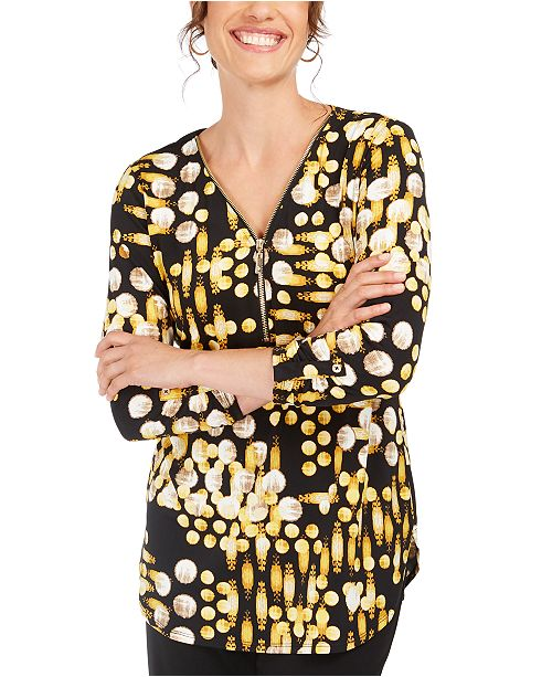 JM Collection Printed Zip-Neck Top, Created For Macy's