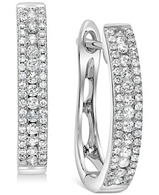 Diamond Small Triple Row Hoop Earrings (1/2 ct. t.w.) in 14k White Gold