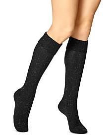 Women's Cuffed Waffle Tweed Knee Socks