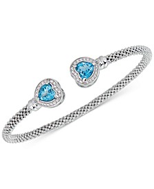 Swiss Blue Topaz (1-3/4 ct. t.w.) & White Topaz (1/3 ct. t.w.) Heart Cuff Bracelet in 14k Rose Vermeil over Sterling Silver (Also in Amethyst)