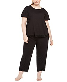 Plus Size Lace-Trim Pajamas Set, Created for Macy's