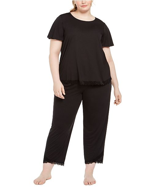 Charter Club Plus Size Lace-Trim Pajamas Set, Created For Macy's