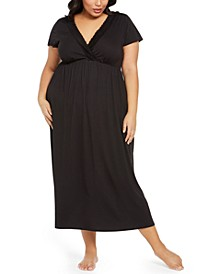 Plus Size Lace-Trim Long Nightgown, Created for Macy's