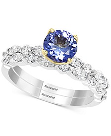 EFFY® Tanzanite (1-1/20 ct. t.w.) & Diamond (1-1/20 ct. t.w.) Bridal Set in 14k Gold & White Gold