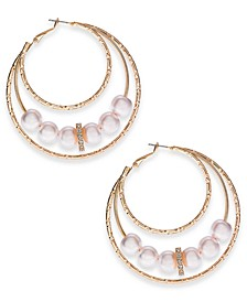 Gold-Tone Bead Triple Hoop Earrings, Created for Macy's