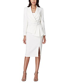 Belted Asymmetrical Crepe Jacket & Front-Slit Pencil Skirt