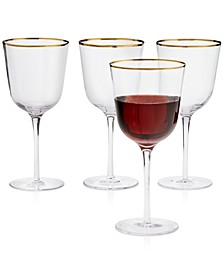 Clear Optic Wine Glasses with Gold-Tone Rims, Set of 4, Created for Macy's