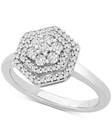 Diamond Multi-Level Cluster Statement Ring (1/3 ct. t.w.) in Sterling Silver