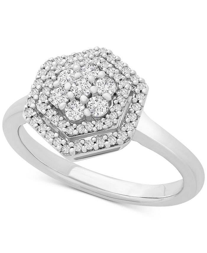 Macy's - Diamond Scatter Cluster Double Band Statement Ring (1/3 ct. t.w.) in 10k White Gold