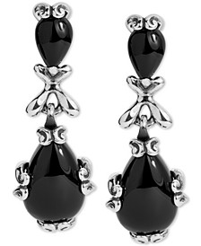 Black Agate Drop Earrings in Sterling Silver
