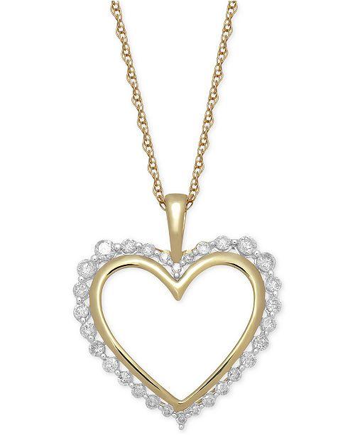 "Macy's Diamond Heart 18"" Pendant Necklace (1/2 ct. t.w.) in 14k Gold"